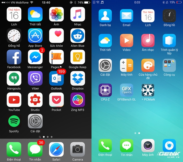Màn hình chính (homescreen) không có app drawer và các icon đầy màu sắc