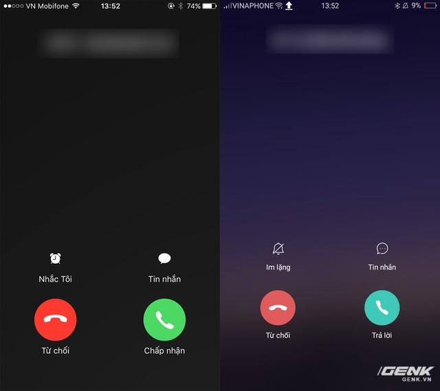 Màn hình khi nhận cuộc gọi của hai máy có cách thiết kế và bài trí tương đồng