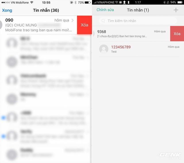 Ứng dụng tin nhắn với khả năng gạt cuộc hội thoại qua trái để xóa nhanh