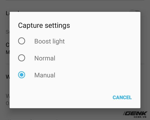 Người dùng sẽ phải vào phần cài đặt để chuyển giữa các chế độ chụp ảnh thường, chỉnh tay hay Boost Light