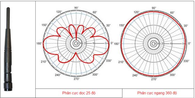 Mô tả về phân cực dọc và ngang của ăng ten đẳng hướng.