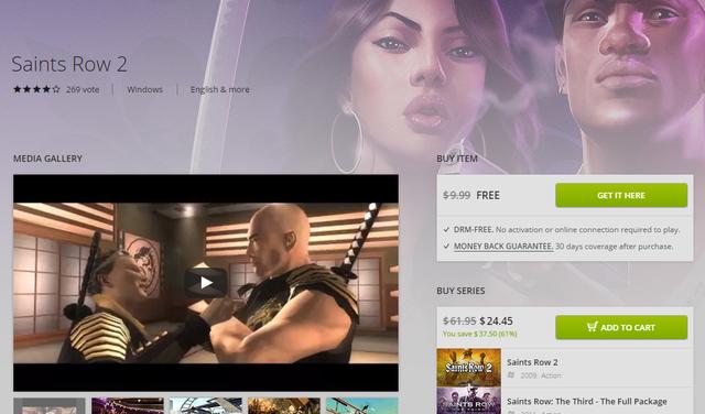 Saints Row 2 thông thường được bán với giá 10 USD, nay đã được tặng miễn phí.