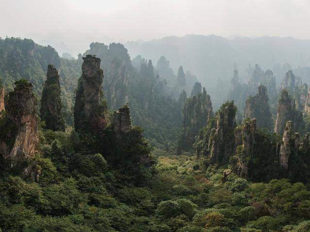 """Dãy núi Tianzi ở Trung Quốc với hàng nghìn ngọn núi cao chót vót xếp cạnh nhau, chính là nguồn cảm hứng cho bộ phim đình đám """"Avatar""""."""