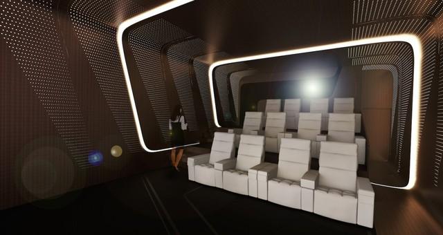 Bên ngoài sảnh đợi có một rạp chiếu phim IMAX có đủ ghế cho 12 người ngồi.