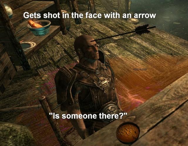 Lính gác trong Skyrim sau khi bị ăn cả mũi tên vào mặt nhưng vẫn không chắc có kẻ địch ở quanh mình hay không.