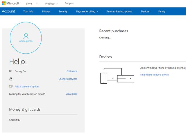 Sau khi thực hiện các bước đăng ký đơn giản (tên, mật khẩu, ngày tháng năm sinh...), bạn sẽ sở hữu một tài khoản của Microsft. Từ giờ, các bạn có thể sở dụng tài khoản này để mua và tải các ứng dụng trên store của Microsoft.