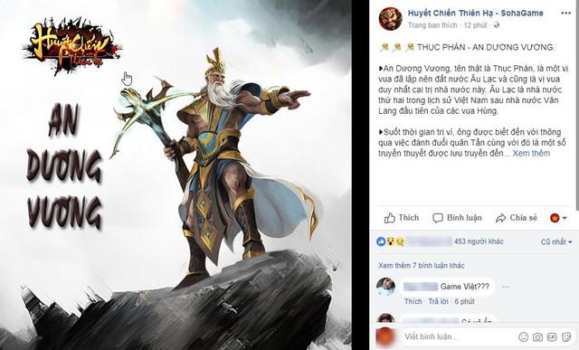 Nhân vật thần thoại An dương Vương, bất ngờ xuất hiện trên fanpage game Việt với cây nỏ thần trong tay