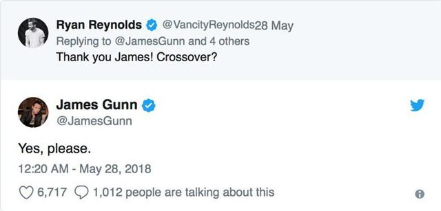 Ryan Reynolds thuyết phục đạo diễn James Gunn về việc hợp tác giữa Deadpool và Guardians of the Galaxy.