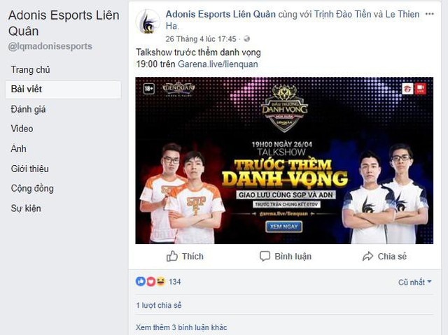 Sức hút của Adonis Esports là không thể sánh được với GameTV hay Team Flash.