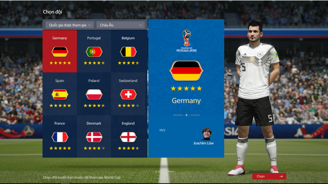 Giao diện chọn ĐT Quốc Gia trong chế độ World Cup 2018.