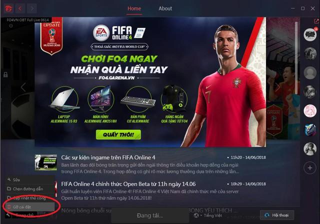 """Gỡ cài đặt bản """"Cũ"""" và tải lại phiên bản mới sẽ giúp chúng ta tránh được vài lỗi nhỏ trong FIFA ONLINE 4."""
