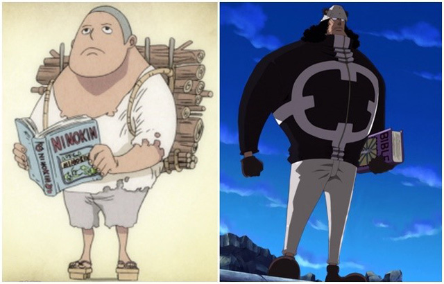 Nhân vật này luôn mang theo sách, từ bé tới lớn và thậm chí là ở bức ảnh bên trái, ông ta còn mang theo gỗ, đảo Ohara nổi tiếng với những cây cổ thụ cao lớn, có lẽ nào…