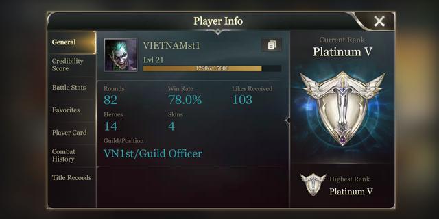 Clan VN1st với nhiều thành viên lọt top rank nhất, trong hình trên là account top 1 rank.