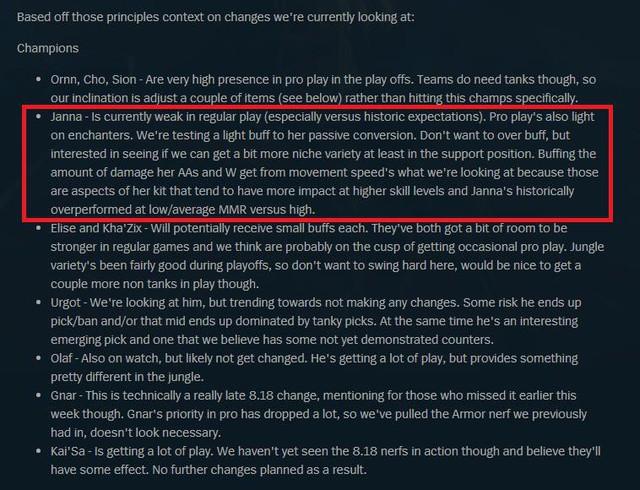 """Janna mới thật sự là """"con đẻ"""" của Riot – được xem xét đặc cách tăng sức mạnh chỉ vì sợ không được chơi trong CKTG 2018 - Ảnh 1."""