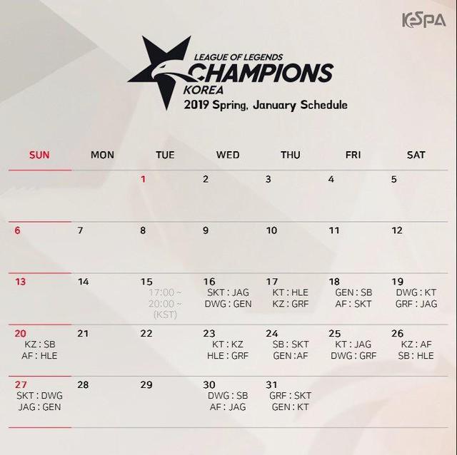 LMHT: KeSPA công bố lịch thi đấu chính thức của LCK Mùa Xuân 2019, SKT đánh ngay trận khai mạc - Ảnh 2.