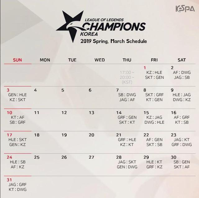 LMHT: KeSPA công bố lịch thi đấu chính thức của LCK Mùa Xuân 2019, SKT đánh ngay trận khai mạc - Ảnh 4.