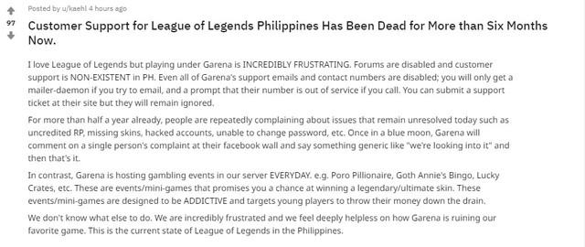 LMHT: Garena bị tố bỏ bê game thủ, biến máy chủ Philippines thành Dead Server - Ảnh 1.