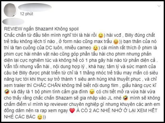 Khán giả Việt sau suất chiếu sớm phát cuồng vì Shazam: Phim siêu anh hùng lầy lội nhất từ trước đến nay - Ảnh 5.