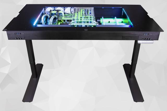 Chiếc PC chiến game kèm bàn với tản nhiệt nước đẹp ngất ngây này có giá 350 triệu đồng - ngang 1 chiếc xe ô tô - Ảnh 1.
