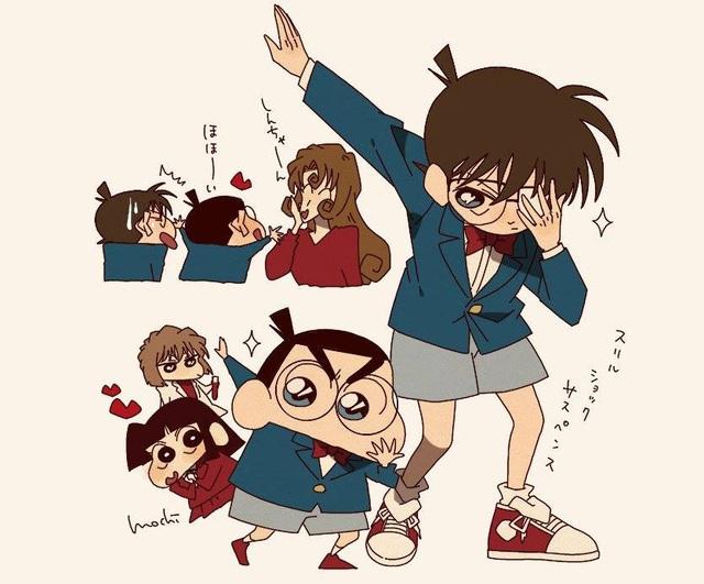 Từ Conan, One Piece tới Dragon Ball đều hóa Shin - Cậu bé bút chì qua bộ fan art vui nhộn - Ảnh 1.