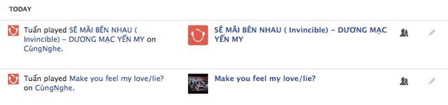 Sau khi nghe nhạc trên website, ứng dụng tự động đăng link bài hát.