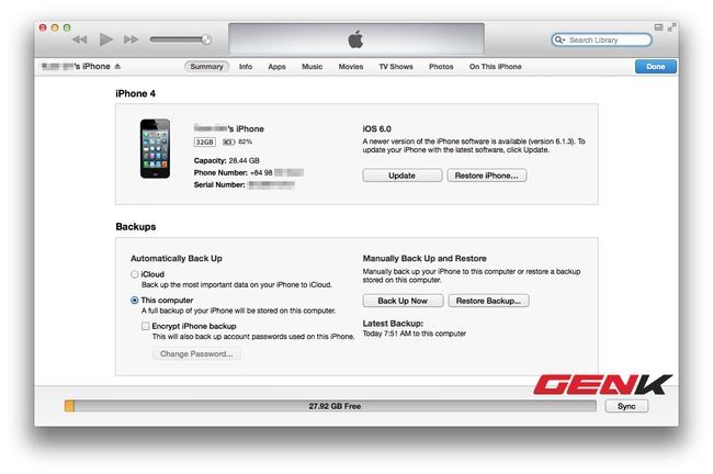 Thiết bị đã ở phiên bản iOS 6.0.