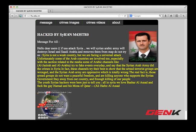 Website trường ĐH Ngoại Thương bất ngờ bị hacker Syria tấn công