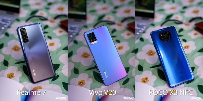 So sánh 3 smartphone tầm trung nổi bật cùng tầm giá: Realme 7 vs Vivo V20 vs POCO X3 NFC - Ảnh 1.