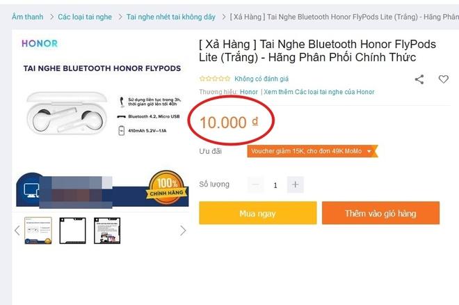 """Hí hửng đặt mua tai nghe không dây Honor sale từ tiền triệu còn 10k, """"hết hồn"""" vì phí ship lên tới… 4 triệu 5 - Ảnh 2."""