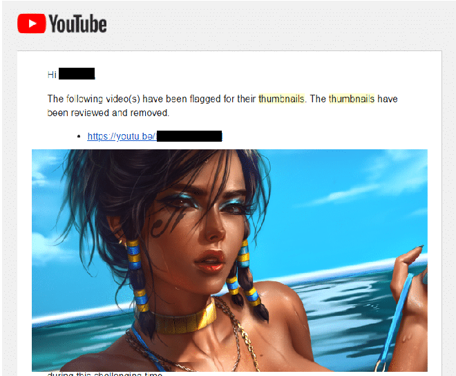 Bức hình bị YouTube cho là khiêu dâm và tiến hành khóa kênh.