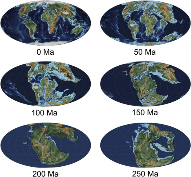 Sự biến đổi của các lục địa trên Trái Đất trong vòng 250 triệu năm qua