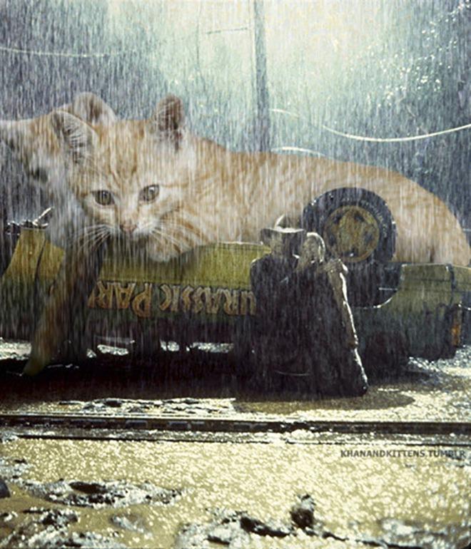 Chết cười với chùm ảnh Công viên kỷ Jura nhưng khủng long được thay thế bằng mèo và chồn - Ảnh 9.