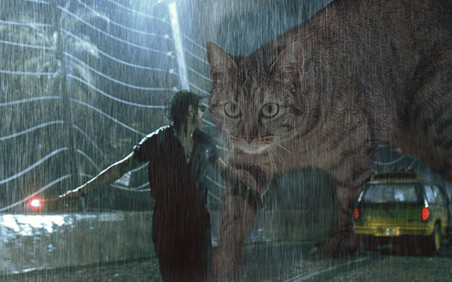 Chết cười với chùm ảnh Công viên kỷ Jura nhưng khủng long được thay thế bằng mèo và chồn - Ảnh 13.