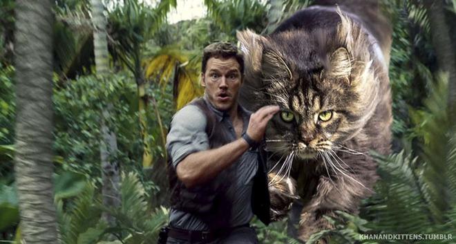 Chết cười với chùm ảnh Công viên kỷ Jura nhưng khủng long được thay thế bằng mèo và chồn - Ảnh 2.