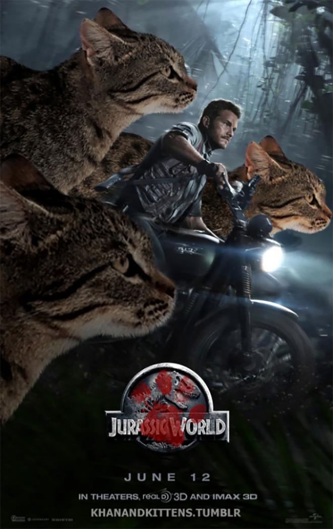 Chết cười với chùm ảnh Công viên kỷ Jura nhưng khủng long được thay thế bằng mèo và chồn - Ảnh 4.