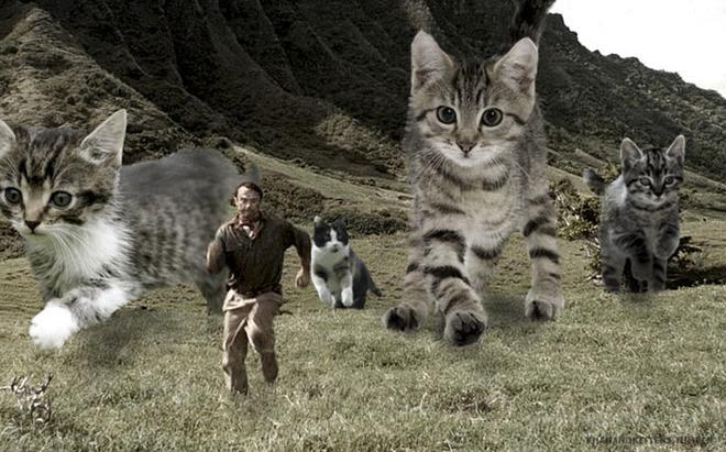 Chết cười với chùm ảnh Công viên kỷ Jura nhưng khủng long được thay thế bằng mèo và chồn - Ảnh 7.