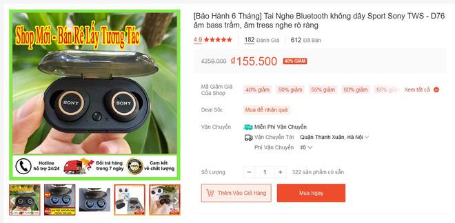 Tai nghe Sony hàng fake trên mạng bán chỉ 150k: Rõ là hàng giả mà vẫn đầy người mua, nhận cả trăm đánh giá 5 sao - Ảnh 1.