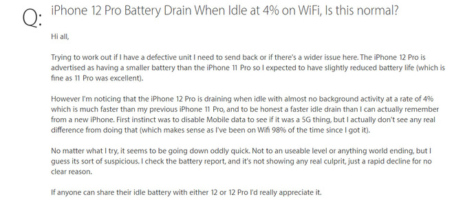 Một số người dùng iPhone 12 Pro phàn nàn tình trạng máy hao pin không rõ lý do - Ảnh 2.