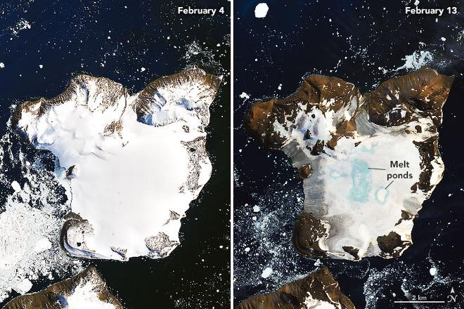 NASA ghi lại hình ảnh chỏm băng ở Nam Cực tan chảy trong đợt nóng kỷ lục vừa qua - Ảnh 1.