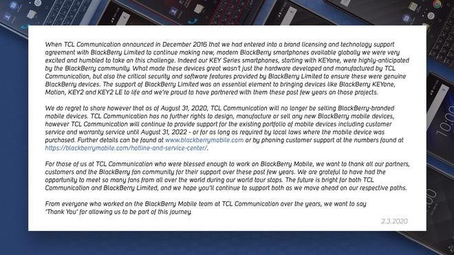 RIP BlackBerry: toàn bộ các smartphone chạy Android của hãng sẽ bị ngừng bán vào tháng 8/2020 - Ảnh 2.