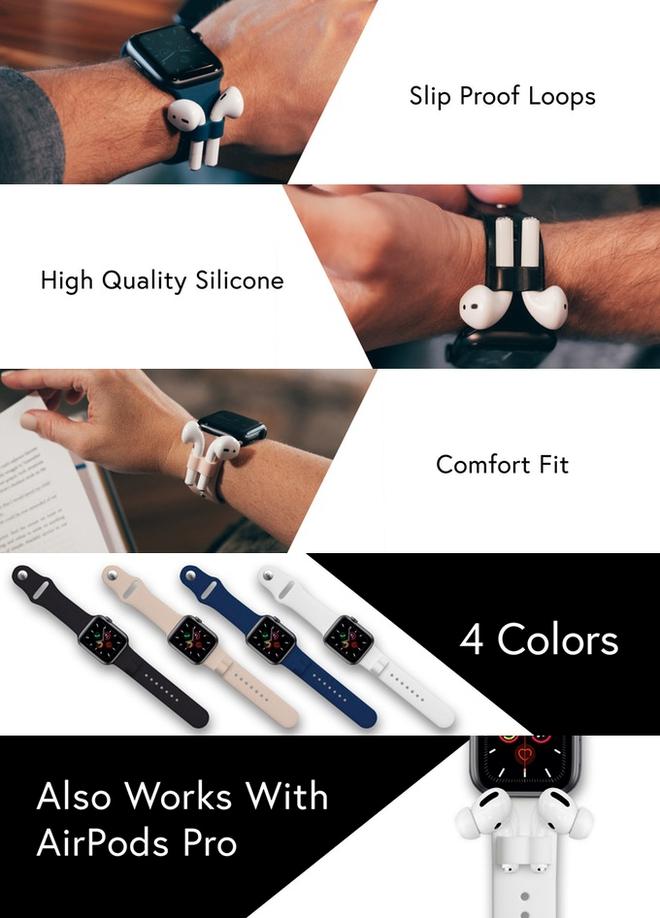 Đây là mẫu dây Apple Watch có gắn thêm lỗ cắm AirPods cho nó khỏi rơi, giá gần 700.000 đồng/bộ - Ảnh 1.
