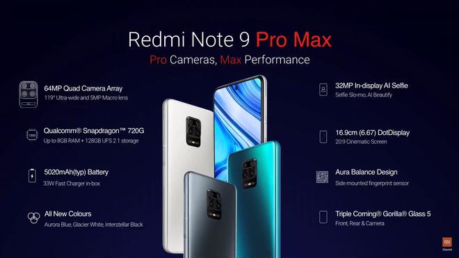 Redmi Note 9 Pro Max ra mắt: Snapdragon 720G, camera 64MP, pin 5020mAh, sạc nhanh 33W, giá bằng 1/5 iPhone 11 Pro Max - Ảnh 2.