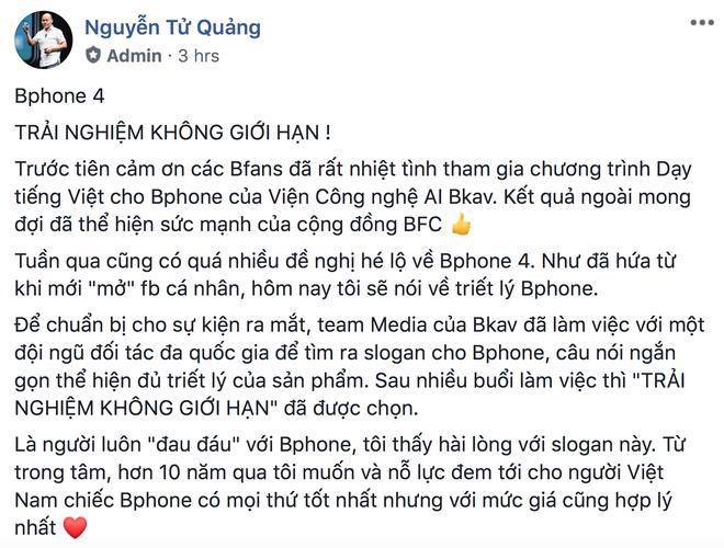 CEO BKAV Nguyễn Tử Quảng: Bphone 4 sẽ là smartphone trải nghiệm không giới hạn - Ảnh 1.