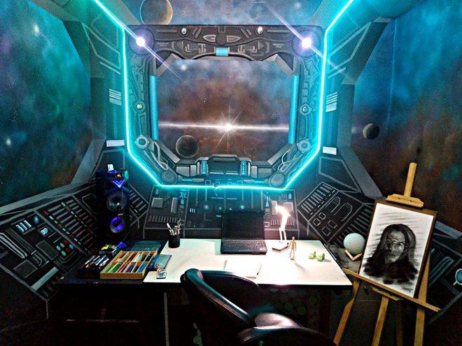 Khéo tay hay làm: Anh họa sĩ hô biến căn phòng thành khoang tàu vũ trụ cho con gái chơi khi ở nhà tránh Covid-19 - Ảnh 13.