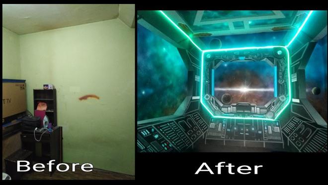 Khéo tay hay làm: Anh họa sĩ hô biến căn phòng thành khoang tàu vũ trụ cho con gái chơi khi ở nhà tránh Covid-19 - Ảnh 15.