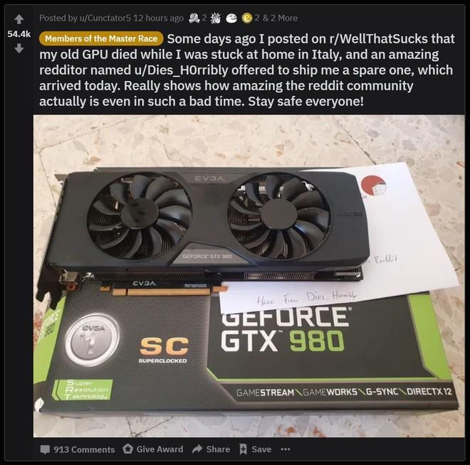 Ấm lòng mùa dịch: Game thủ người Ý phàn nàn bị hỏng GPU trong những ngày cách ly, được người lạ tặng ngay một chiếc khác - Ảnh 3.