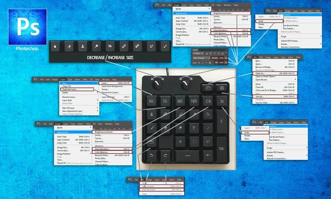 Người dùng có thể tùy ý thay đổi thiết lập phím tắt trong Photoshop trên chiếc bàn phím mini độc đáo này.