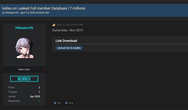 7 triệu dòng dữ liệu được cho là có chứa các thông tin cá nhân của toàn bộ người dùng trên tailieu.vn đã được đăng tải trên diễn đàn dành cho hacker R***forums.com (Ảnh chụp màn hình)