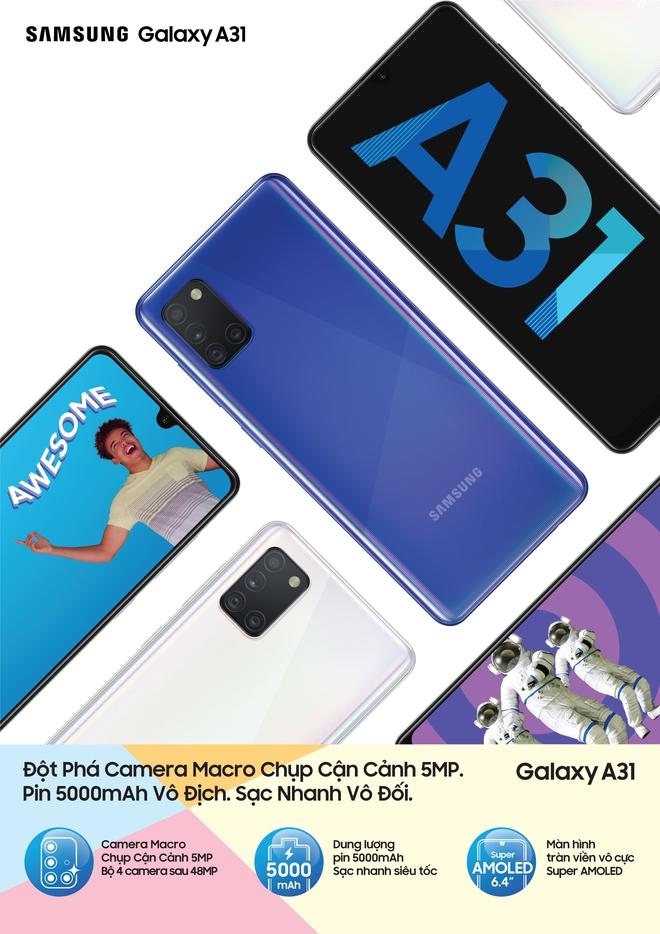 Galaxy A31 ra mắt tại VN: Chip Helio P65, có camera macro, pin 5000mAh, giá 6.5 triệu đồng - Ảnh 1.