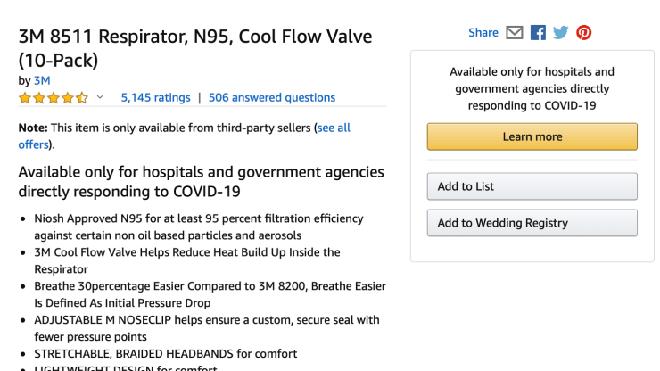 Ưu tiên cung cấp cho bệnh viện, các cơ quan chính phủ, Amazon dừng bán khẩu trang N95 cho người dùng - Ảnh 2.